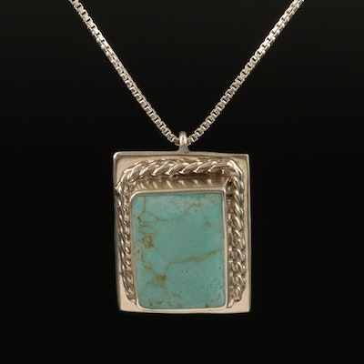 Sterling Faux Turquoise Pendant Necklace