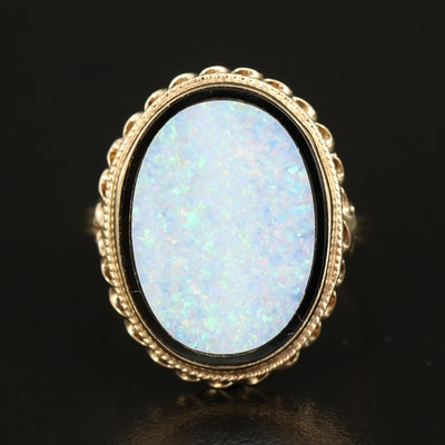 14K Opal and Black Onyx Ring