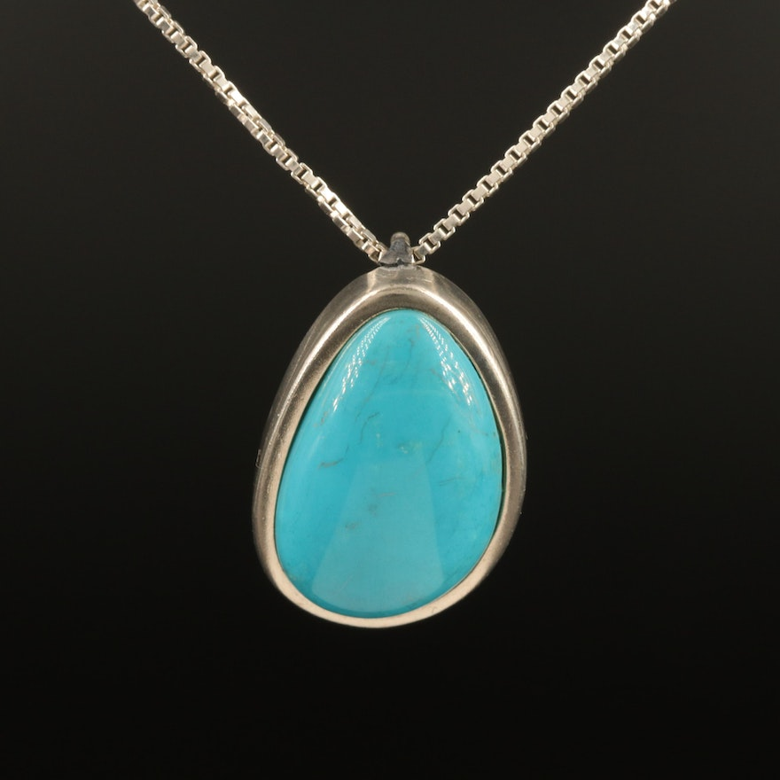 Sterling Turquoise Cabochon Pendant Necklace