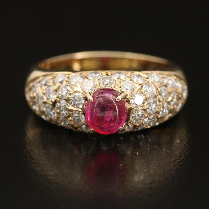 14K Pavé Ruby and 1.21 CTW Diamond Ring