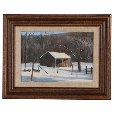 Arthur Henderson Winter Landscape Oil Painting of a Barn, 1980