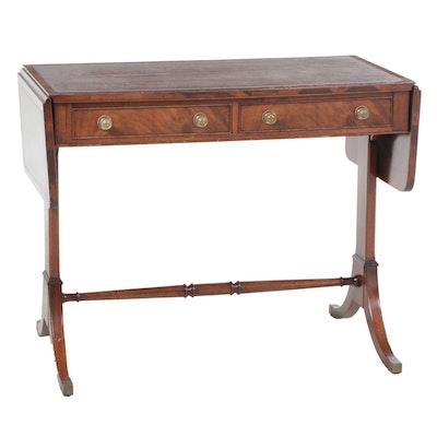 Regency Style Leather Top Mahogany Sofa Table, Mid-20th Century