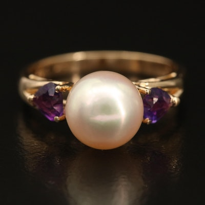 14K Pearl Ring with Heart Amethyst Shoulders