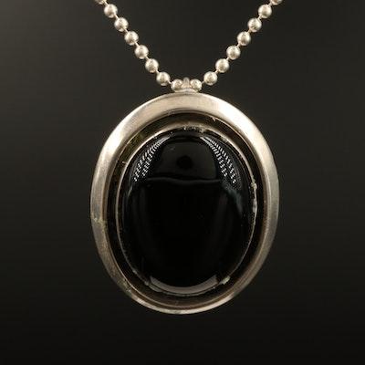 Ronnie Willie Navajo Diné Sterling Black Onyx Pendant Necklace
