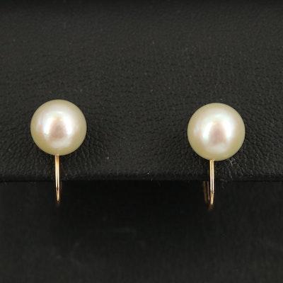 14K Pearl Screw Back Earrings