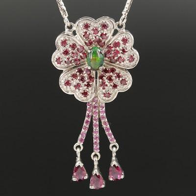 Sterling Sterling Opal and Garnet Floral Stationary Pendant Necklace