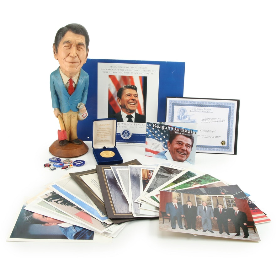 Ronald Reagan Pins, Medal, Figurine, with Photographs and Ephemera