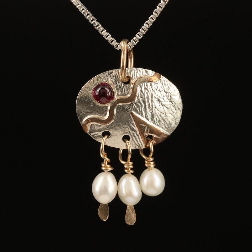 Sterling Rhodolite Garnet and Pearl Pendant Necklace