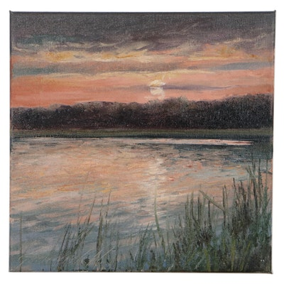 "Garncarek Aleksander Landscape Oil Painting ""Zachód,"" 2021"