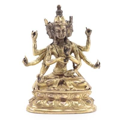 Chinese Buddhist Ushnishavijaya Gilt Brass Figure, 19th Century