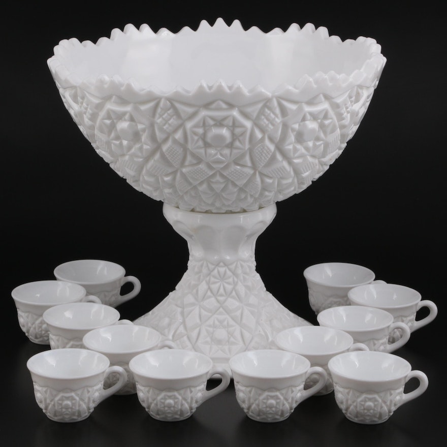 Quilted Ceramic Punch Bowl with Stand and Flat Cups