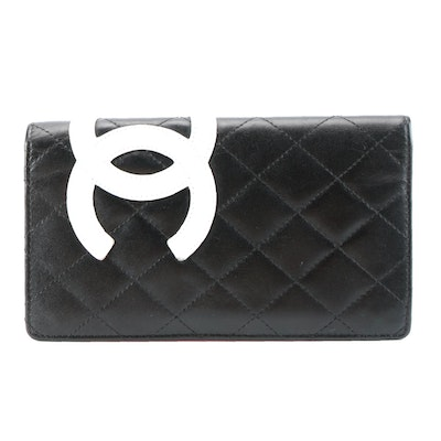 Chanel Cambon Quilted Calfskin Yen Wallet in Black-White Leather Pink Interior