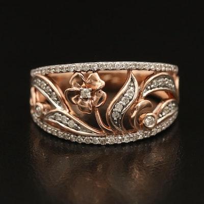 10K 0.34 CTW Diamond Floral Ring