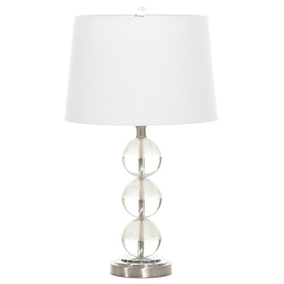 Clear Glass Stacked Orb and Brushed Metal Table Lamp