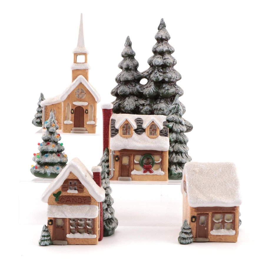 Glenview Mold Ceramic Christmas Village Houses and Trees, Late 20th Century