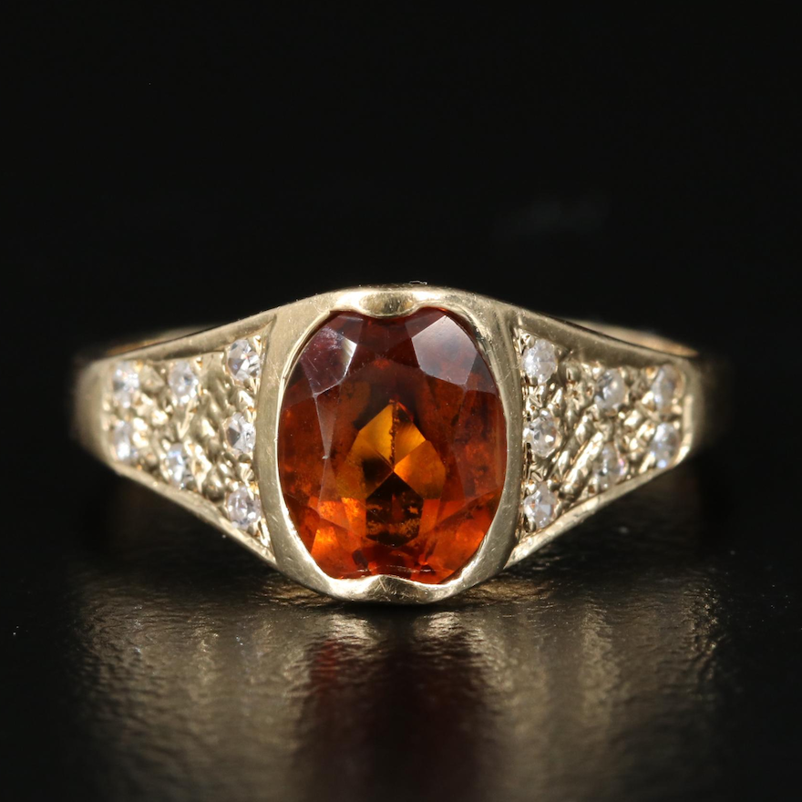 14K Citrine Ring with Diamond Shoulders