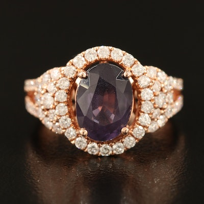 14K 2.71 CT Spinel and Diamond Ring