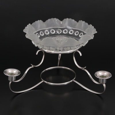 English Silver Plate Epergne with Ruffled Rim Pressed Glass Bowl, Mid-20th C.