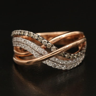 14K 0.77 CTW Diamond Crossover Ring