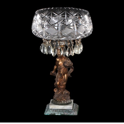 Marble Base Putti Compote with Prisms