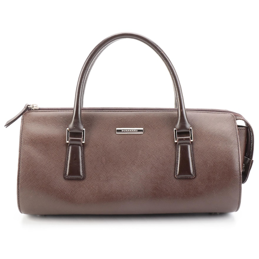 Burberry Top Handle Baguette-Style Handbag in Brown Saffiano Leather