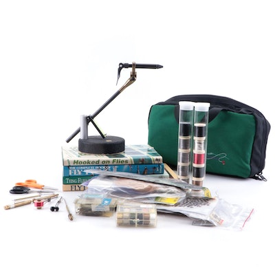 Fly Fishing Hooks, Thread, Hook Gauge and Other Accessories with Fly Tying Books