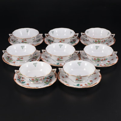 "Herend ""Livia"" Porcelain Cream Soup Bowls and Saucers"