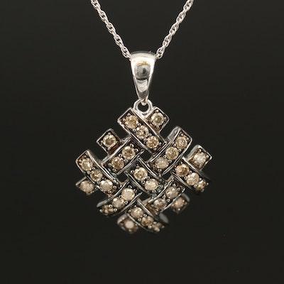 10K 0.78 CTW Diamond Pendant on Sterling Chain