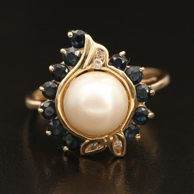 14K Pearl, Sapphire, and Diamond Ring