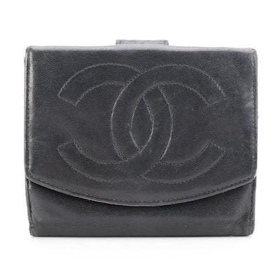 Chanel CC Compact Wallet in Black Lambskin