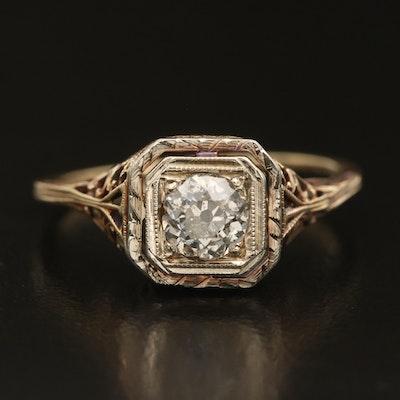 Antique 14K 0.51 CT Diamond Ring with 18K Top Trim