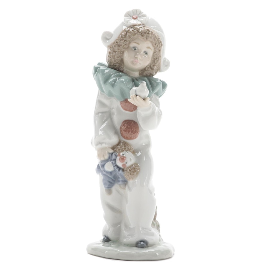 """Nao by Lladró """"Nina Harlequin with Dove"""" Porcelain Figurine"""