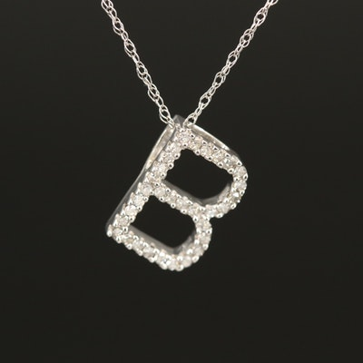 "14K 0.10 CTW Diamond ""B"" Initial Pendant Necklace"
