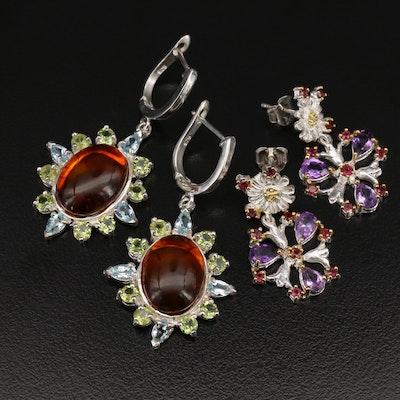 Sterling Silver Amber, Sky Blue Topaz, Peridot, and Gemstone Earrings