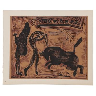 "Pablo Picasso Linoleum Cut ""The Banderillas,"" 1962"