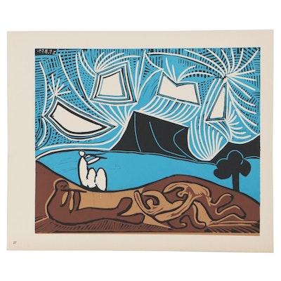 "Pablo Picasso Color Linoleum Cut ""Bacchanal with Pair of Lovers,"" 1962"