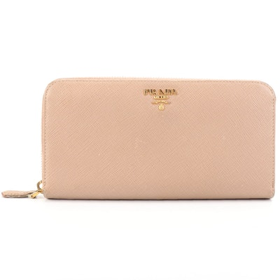 Prada Zip-Around Wallet in Beige Saffiano Leather