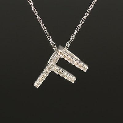"14K 0.11 CTW Diamond Initial ""F"" Pendant Necklace"