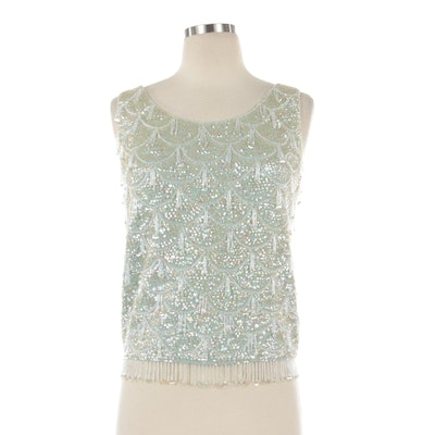 Hand-Beaded and Sequin Embellished Pale Green Wool Sleeveless Top