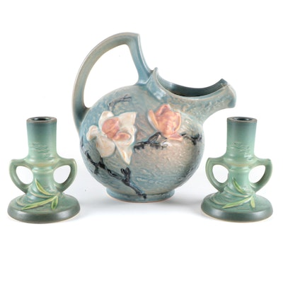 """Roseville Pottery """"Freesia"""" Candlesticks and """"Magnolia"""" Pitcher, Mid-20th C."""