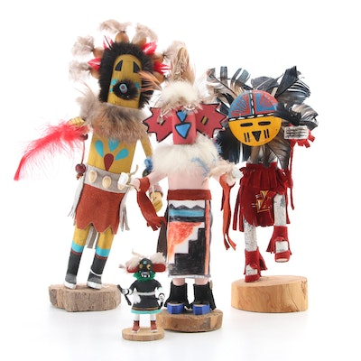 """Katsina Hand-Carved Wood Dolls """"Sunface,"""" """"Bead Dancer,"""" and Other"""