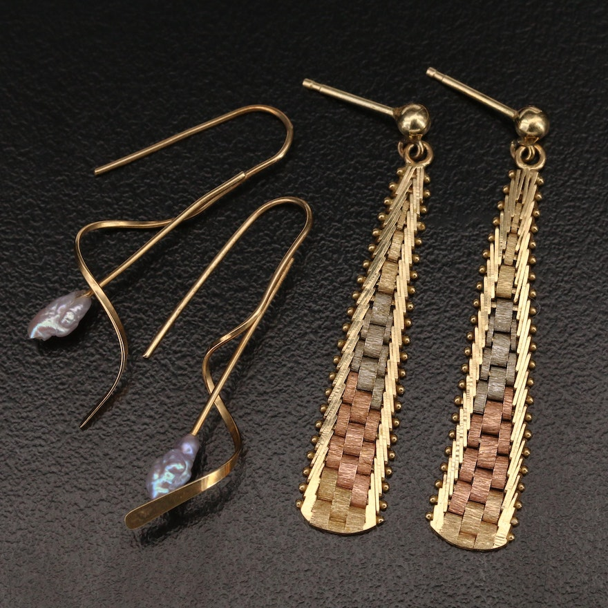14K Pearl and Tri Color Earrings