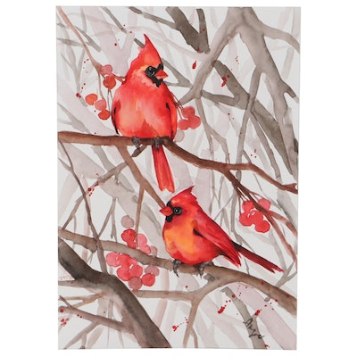 """Anne """"Angor"""" Gorywine Watercolor Painting of Cardinals"""