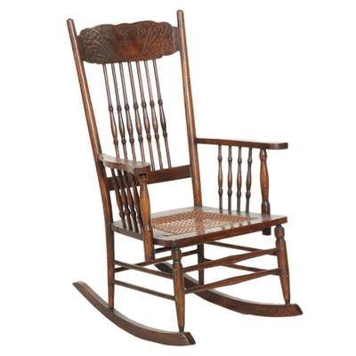 Victorian Pressed Back Oak Rocking Chair with Woven Cane Seat