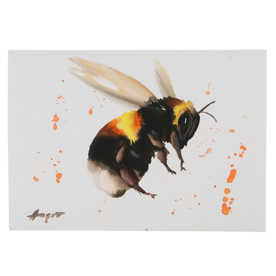 """Anne """"Angor"""" Gorywine Watercolor Painting of a Bumblebee"""