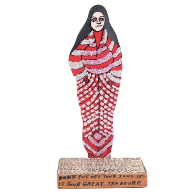 Howard Finster Acrylic Painted Wood Sculpture, 1989