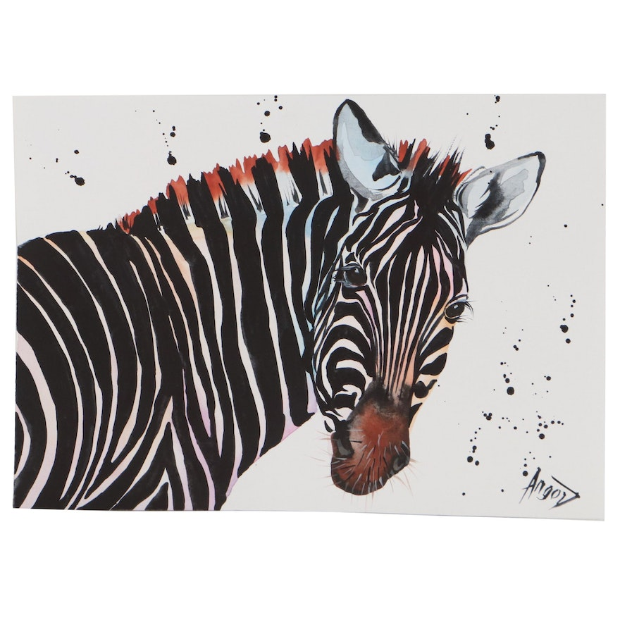 """Anne """"Angor"""" Gorywine Watercolor Painting of a Zebra, 21st Century"""