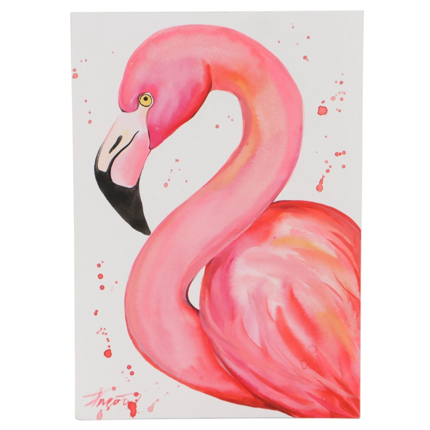 """Anne """"Angor"""" Gorywine Watercolor Painting of a Flamingo, 21st Century"""