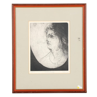 """Peter Hammer Etching """"Portrait of a Lady,"""" Late 20th Century"""