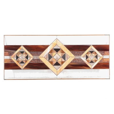 Geometric Stained and Slag Glass Hanging Window Panel